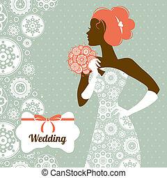 esküvő, invitation., menyasszony, árnykép, gyönyörű