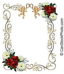 esküvő invitation, piros rózsa, határ
