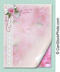 esküvő invitation, rózsaszínű rózsa