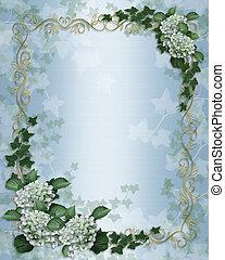 esküvő invitation, repkény, floral határ