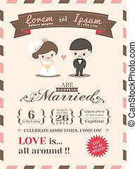esküvő, kártya, sablon, meghívás