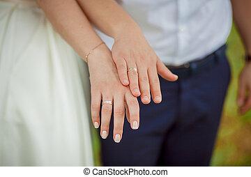esküvő, kézbesít, newlyweds