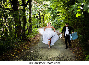 esküvő, külső, arcképek