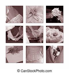 esküvő, kollázs
