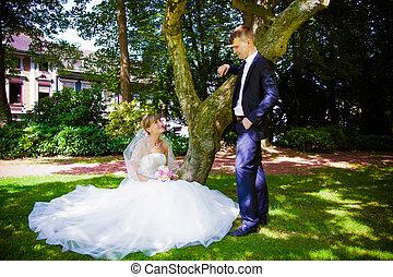 esküvő, lövés, közül, menyasszony inas
