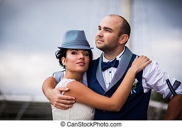 esküvő, mód, gyengédség
