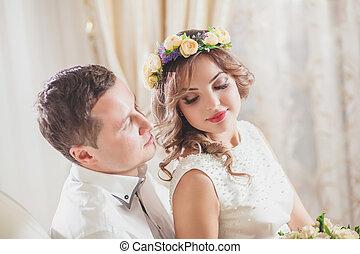 esküvő, menyasszony, lovász