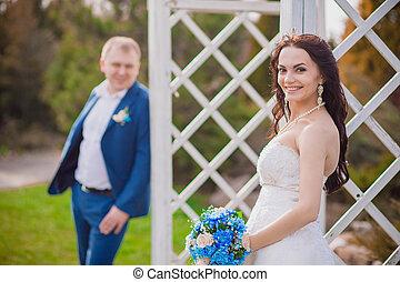 esküvő, menyasszony, mosolygós