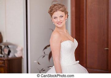 esküvő, menyasszony, otthon