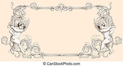 esküvő, nap, díszítés, keret, metszés, dekoratív határ,...
