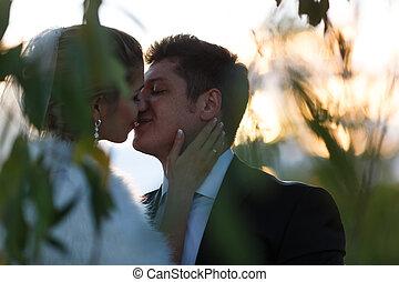 esküvő párosít, árnykép