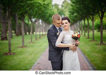 esküvő párosít, -ban, erdő