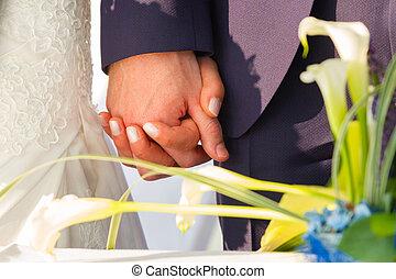 esküvő párosít, birtok, hands.