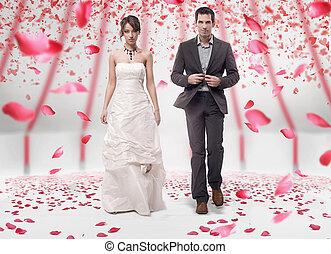 esküvő párosít, gyalogló, alatt, agancsrózsák