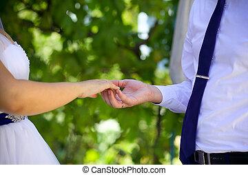 esküvő párosít, hatalom kezezés