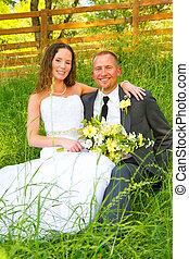 esküvő párosít, menyasszony inas, arcképek