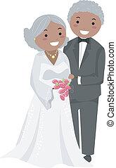 esküvő párosít, stickman, idősebb ember