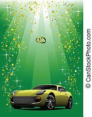 esküvő, sárga autó, képben látható, zöld, backgr