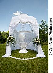 esküvő, sátor, dísztér