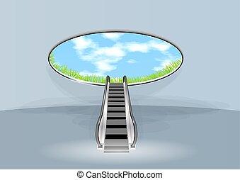 eskalator, w, niebo