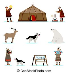 Eskimo characters in traditional clothing, arctic animals, igloo house. Life in the far north. Set of colorful cartoon detailed vector Illustrations