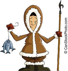 Eskimo on a white background, vector illustration