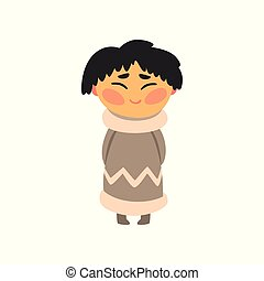 Eskimo girl in national clothes, kid cartoon character in traditional costume vector Illustration on a white background