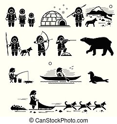 Eskimo people, lifestyle, and animals.