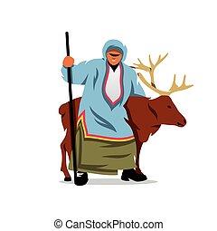 Eskimo with a Deer. Vector Cartoon Illustration.