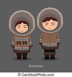 eskimos, alatt, nemzeti, clothes.