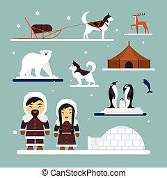 Hiver Traîneau Couple Chien Chaud Inuit Esquimau