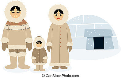 Eskimo family posing in front of their igloo. No transparency and gradients used.