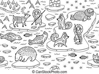 eskimos, norte, yurt, patrón, animales, seamless, poste, salvaje