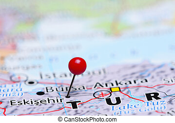 Eskisehir pinned on a map of Asia - Photo of pinned...