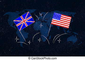 british and american flags symbol of studying english as ...