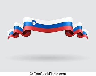 esloveno, ondulado, flag., illustration.