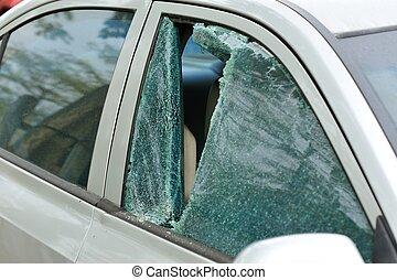 esmagado, janela carro, ladrão