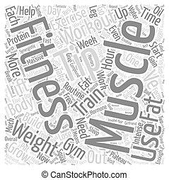esmagamento, conceito, palavra, texto, novatos, músculos, ...