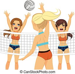 esmagamento, mulheres, bloco, jogadores voleibol