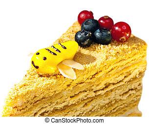 esmalte, abelha, mel, bolo, decorado, pedaço