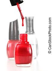 esmalte, goteo, clavo, botella, polaco, rojo