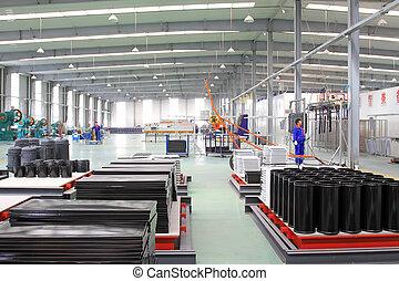 esmalte, producción, acero inoxidable, línea, fábrica
