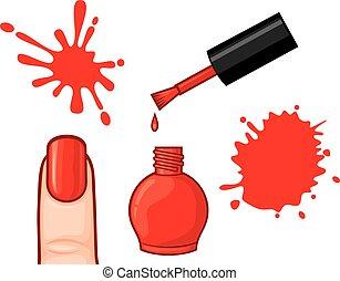 esmalte uñas, blots, vector