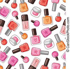esmalte uñas, botellas, seamless, patrón