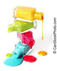 esmalte uñas, derramado, botellas