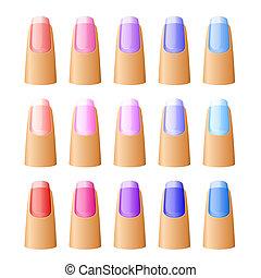 esmalte uñas, diferente, hues.