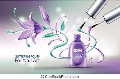 esmalte uñas, vector, ilustración, brillo