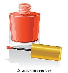 esmalte uñas, vector, ilustración