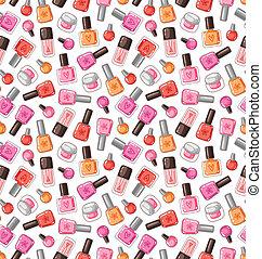 esmalte uñas, vector, seamless, patrón