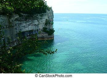esmeralda, aguas, en, superior de lago